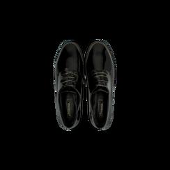 Stringate derby vernice nera tacco basso, Scarpe, 120618121VENERO, 004 preview