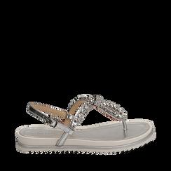 Sandali infradito argento laminato con pietre , Chaussures, 154950098LMARGE036, 001a