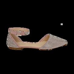 Ballerine gioiello nude in microfibra, Scarpe, 154968041MPNUDE036, 001 preview