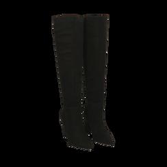 Stivali overknee neri in microfibra, tacco 9,50 cm , Primadonna, 164988612MFNERO035, 002a