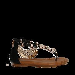 Sandali gioiello flat neri in raso , Primadonna, 133601507RSNERO035, 001a