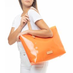 Maxi-bag arancio in pvc, Saldi Estivi, 133764210PVARANUNI, 002a