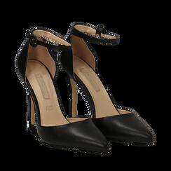 Décolleté nere in eco-pelle con cinturino alla caviglia, tacco 10,5 cm, Scarpe, 132186722EPNERO035, 002a