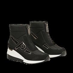 Sneakers a calza nere in tessuto tecnico, zeppa 6 cm , Scarpe, 14A718203TSNERO035, 002a