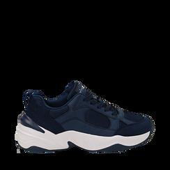 Dad shoes blu in microfibra, zeppa 4,50 cm, Sneakers, 142619462MFBLUE035, 001a