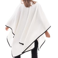 Poncho bianco in tessuto , Abbigliamento, 14B400006TSBIAN3XL, 002a