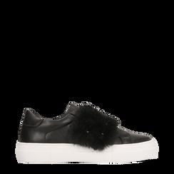 Sneakers nere Slip-on con dettagli faux-fur e borchie, 126103025EPNERO036, 001a