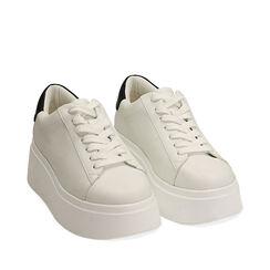 Sneakers bianche, platform 6,5 cm, Primadonna, 177505101EPBIAN036, 002a