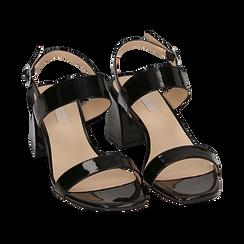 Sandali neri in vernice, tacco 6,50 cm, Primadonna, 152790111VENERO036, 002 preview