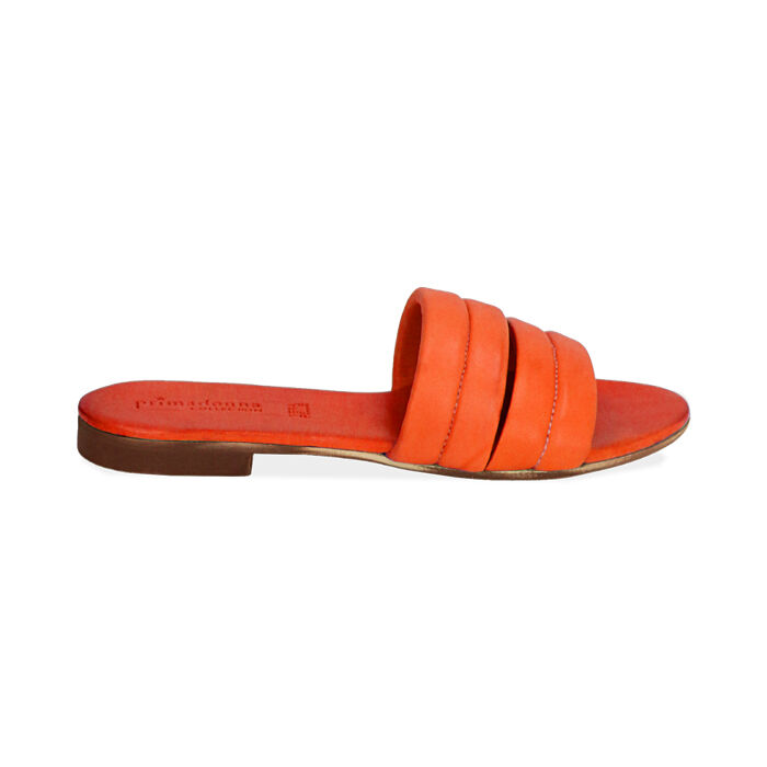 Ciabatte arancio in pelle, Primadonna, 177204903PEARAN035