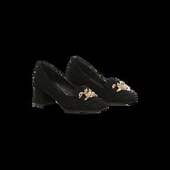 Mocassini décolleté scamosciati neri con frange, tacco 5,5 cm, Scarpe, 122186581MFNERO, 002 preview