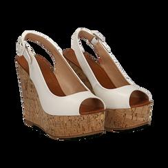 Sandali platform bianchi in eco-pelle, zeppa in sughero 12 cm ,
