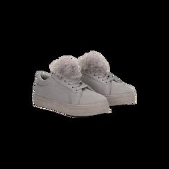 Sneakers grigie con pon pon in eco-fur, Scarpe, 121081755MFGRIG037, 002