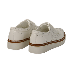 Stringate flatform bianche in eco-pelle, Scarpe, 133009503EPBIAN037, 004 preview