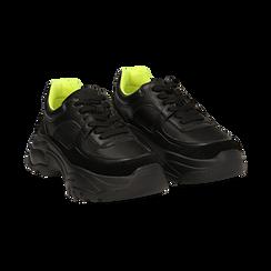 Dad shoes nere in eco-pelle, zeppa 5 cm , Scarpe, 142509513EPNERO035, 002 preview