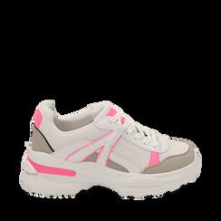 Dad shoes bianche/fucsia fluo in tessuto, Sneakers, 154106013TSBIFU035, 001a