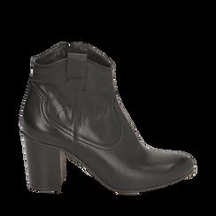 Botines en piel color negro, tacón 7,50 cm, Primadonna, 157725926PENERO036, 001a