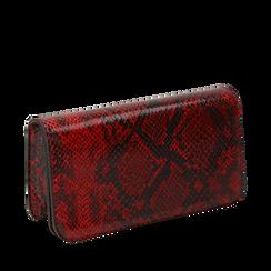 Pochette rossa in eco-pelle snake print, Primadonna, 145122779PTROSSUNI, 002a