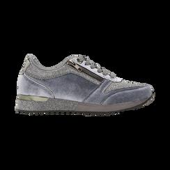 Sneakers grigie velluto e dettagli metal, Scarpe, 120127903VLGRIG, 001 preview