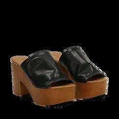 Mules nere in eco-pelle, tacco 9 cm , Primadonna, 134956581EPNERO035, 002a