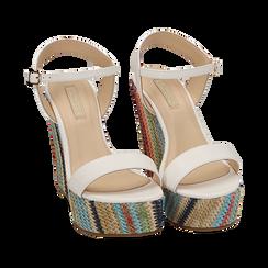 Sandali bianchi in eco-pelle, zeppa 12 cm , Zapatos, 154917229EPBIAN040, 002a