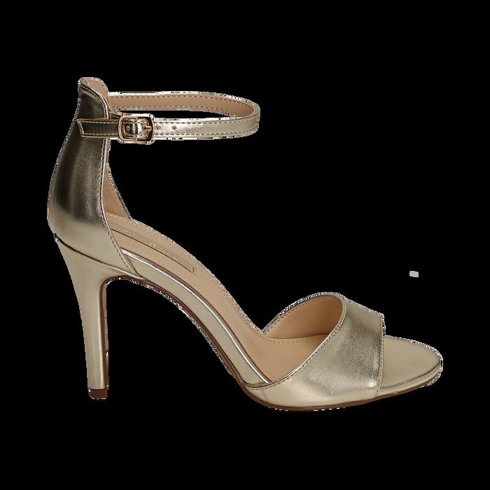 Sandali oro in eco-pelle laminata, tacco 9,5 cm, Primadonna, 154901361LMOROG038