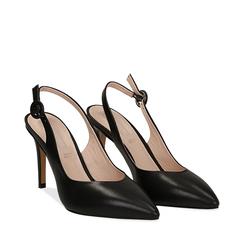 Slingback negro de piel, tacón 9 cm, Zapatos, 15D601002VINERO035, 002a