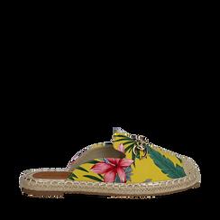 Mules espadrillas gialle in tessuto jungle, Saldi, 134905188TSGIAL035, 001a