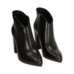 Ankle boots noir imprimé vipère, talon 9 cm , Primadonna, 164916101EVNERO036, 002 preview