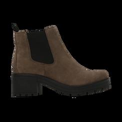 Chelsea Boots taupe in vero camoscio, tacco medio 5,5 cm, Scarpe, 127723509CMTAUP, 001 preview