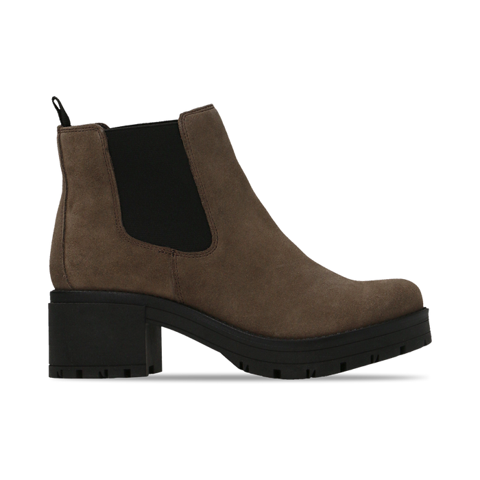 Chelsea Boots taupe in vero camoscio, tacco medio 5,5 cm, Scarpe, 127723509CMTAUP