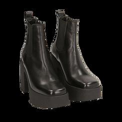 Ankle boots con plateau neri in pelle di vitello, tacco 11 cm , Primadonna, 160202020VINERO040, 002a