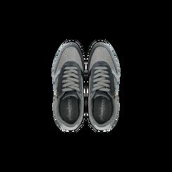 Sneakers grigie velluto e dettagli metal, Scarpe, 120127903VLGRIG, 004 preview