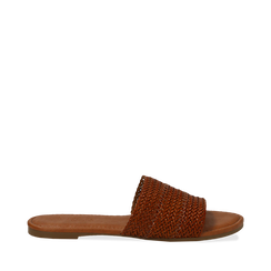 Mules flat cuoio in eco-pelle intrecciata, Primadonna, 133600110EICUOI035, 001a