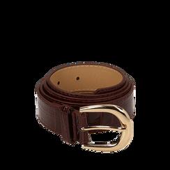 Cintura bordeaux in vernice stampa cocco, Abbigliamento, 144045701VEBORDUNI, 001a
