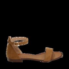 Sandali marroni in microfibra, 154903091MFMARR035, 001a