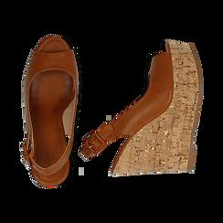 Sandali platform cuoio in eco-pelle, zeppa in sughero 12 cm , Primadonna, 134907982EPCUOI035, 003 preview