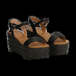 Sandali platform neri in eco-pelle, zeppa in corda 8 cm, Primadonna, 134983293EPNERO036, 002 preview