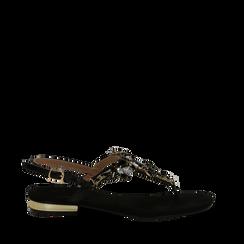 Sandali gioiello infradito neri in microfibra, Primadonna, 134994221MFNERO035, 001a