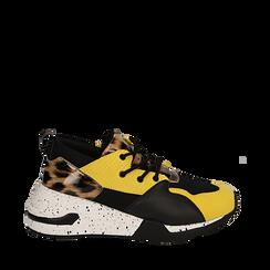 Sneakers nere in tessuto tecnico con dettagli leopard, zeppa 6,50 cm , Scarpe, 14D814201TSNERO036, 001a
