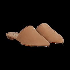 Mules flat nude in microfibra con punta affusolata, Scarpe, 134921861MFNUDE036, 002 preview