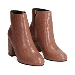 Ankle boots nude stampa cocco, tacco 7,5 cm , Stivaletti, 142762715CCNUDE036, 002a