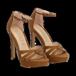 Sandali marroni in microfibra, tacco stiletto 12 cm, Sandali con tacco, 132182184MFMARR035, 002a