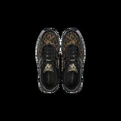 Sneakers leopard dettagli leopard e suola bianca in gomma, Scarpe, 120125906MFLEOP, 004 preview