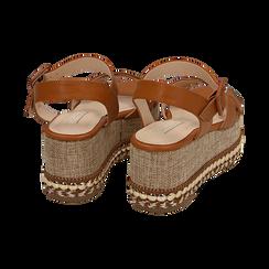 Sandali cuoio, zeppa 7 cm, Scarpe, 154960902EPCUOI, 004 preview
