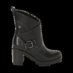 Biker boots neri in eco-pelle, tacco 8 cm , Scarpe, 140637855EPNERO035, 001a