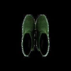 Tronchetti verdi scamosciati, tacco 7,5 cm, Scarpe, 122115991MFVERD, 004 preview