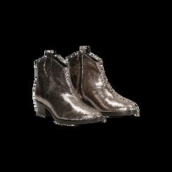 Stivaletti Camperos effetto metallizzato bronze, tacco basso, 12A403944PTBRON036, 002