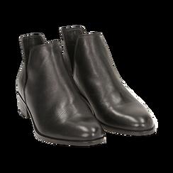 Bottines en cuir noir, talon de 3 cm, Chaussures, 159407601PENERO037, 002 preview