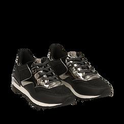 Sneakers nere glitter con dettagli effetto mirror, Scarpe, 142600107GLNERO036, 002a